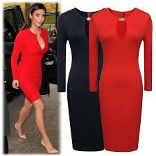 online shop top quality womens long sleeve black red knee length