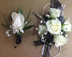 black and white corsage black and silver corsage and bout set in smyrna ga floral