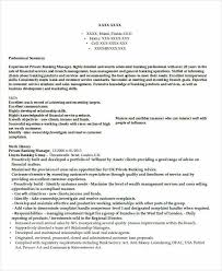 Private Banker Resume Sample by Best Banking Resume Templates 31 Free Word Pdf Documents