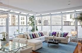 L Shaped Room Ideas Glass Wall And White L Shaped Sofa For Modern Living Room Ideas