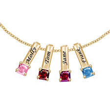 mothers necklace gold silver s necklace with 4 birthstone charms 18 link
