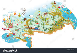 Moscow Map Cartoon Vector Map Russia Symbol Moscow Stock Vector 133982996
