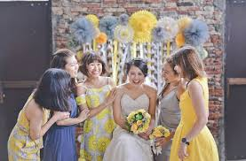 wedding arch kuching a yellow and grey industrial diy wedding in kuching the wedding
