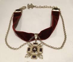 velvet choker necklace pendant images Rare chanel red velvet choker necklace brushed finish jewel jpg