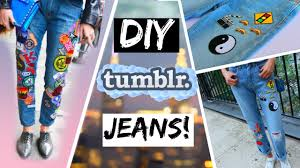 pattern jeans tumblr diy tumblr inspired jeans youtube