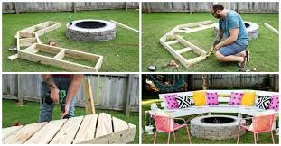 this diy wooden bench takes the backyard fire pit to the next level