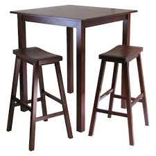 bar stool table set of 2 3 piece parkland high table set with 2 stools wood antique walnut