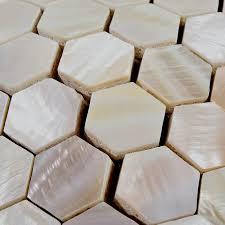 Hexagon Mosaic Mother Of Pearl Tiles Backsplash Cheap Bathroom - Seashell backsplash