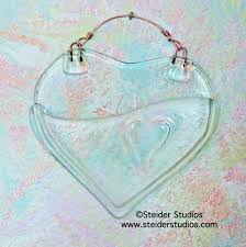 Heart Shaped Glass Vase Recycled Glass Wall Pocket Vase Heart Shaped With Embossed Design