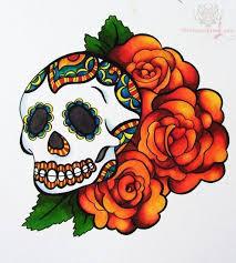 sugar skull and flowers design