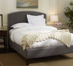 curved bed frame fillmore curved upholstered tall bed headboard pottery barn