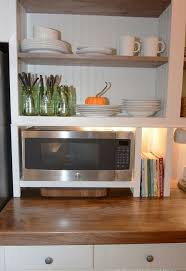 kitchen microwave ideas built in cupboard w a microwave cubby hometalk