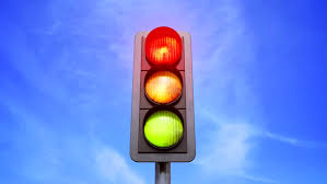 traffic light color change from in yellow and green isolated