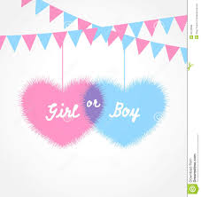 pink and blue baby shower in form hearts with hanging pennants