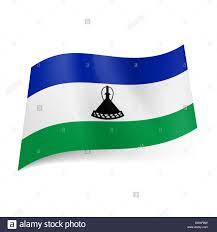 Blue And Black Striped Flag National Flag Of Lesotho Blue White And Green Horizontal Stripes