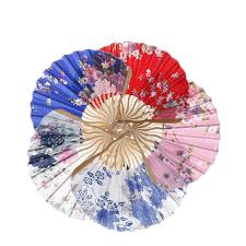 held fan fabric floral pocket fan folding held fan wedding party favor