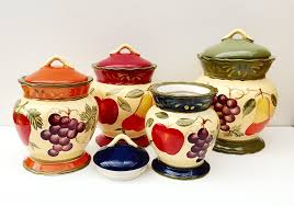 Red Kitchen Canisters Sets Amazon Com Tuscany Garden Colorful Hand Painted Mixed Fruit