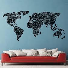 Cork World Map by Mandala World Map Wall Decals Walls And Room