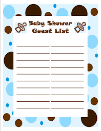 list of baby shower baby shower guest list template baby shower ideas