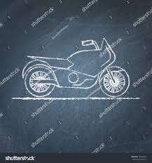 vector chalk sketch motorcycle on blackboard stock vector