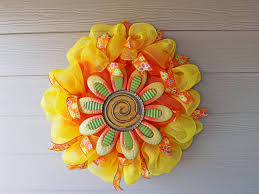 deco mesh ideas new orleans crafts by design orange and yellow deco mesh flower