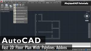 fast autocad floor plan 2d with polylines addons youtube