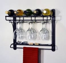 wine glass cabinet wall mount wall mounted black metal wine rack with glass holder and napkin