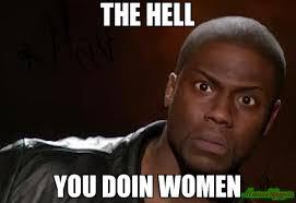 How You Doin Meme - the hell you doin women meme kevin hart the hell 1181 memeshappen