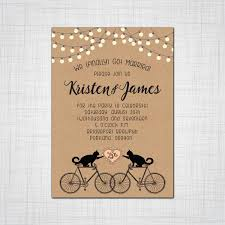 Wedding Invitations With Rsvp Cards Included Cats On Bikes Rustic Whimsy Wedding Or Elopement Party Invitations