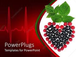powerpoint template currants raspberries and mint making heart