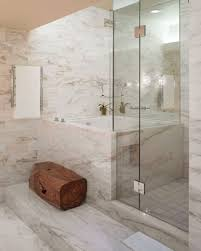 Clear Glass Shower Door by Bathroom White Marble Tile Wall And Clear Glass Shower Door With
