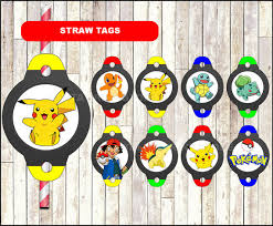 pokemon chalkboard straw toppers printable pokemon party straw