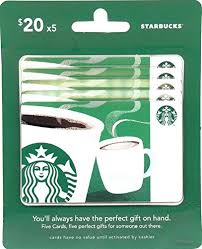 20 dollar gift card starbucks gift cards multipack of 5 20 gift cards