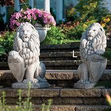 lion garden statue large lion with shield right outdoor garden statue concrete lion