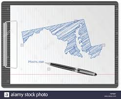 maryland map vector clipboard with drawing maryland map vector illustration stock