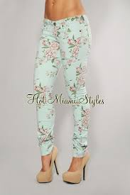 Mint Colored Skinny Jeans Mint Green Floral Print Skinny Jeans