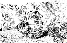 tower tank machine steampunk inspired by metal slug coloring page