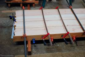 gluing up the workbench top the bench blog