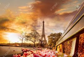 eiffel tower during beautiful spring morning in paris france
