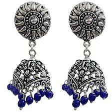 Buy Tribal German Silver Jhumka Kaizer Jewelry Tribal Muse Textured Stud Jhumki German Silver
