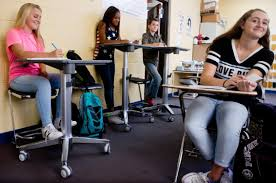 pine tree teacher uses standing desks to keep students engaged