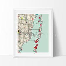 Miami City Map by Miami City Map Art Print By Vivideditions Vivideditions