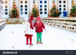 skating winter park rink stock photo 714091714