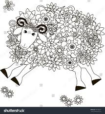 flowers sheep coloring antistress vector stock vector