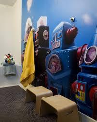bathroom cool kids bathroom decor ideas with robot wallpaper