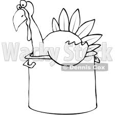 of a black and white thanksgiving turkey bird sitting in a
