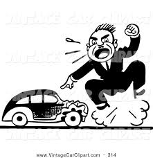 wrecked car clipart clipart of a mad black and white retro man screaming by a wrecked a
