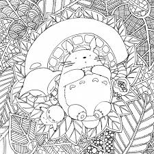 detailed doodle art of totoro coloring pages for adults japanese