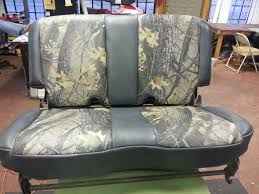 custom black leather u0026 camo bench seat 10th street auto u0026 trim