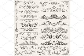 flourish border corner and frame elements collection vector